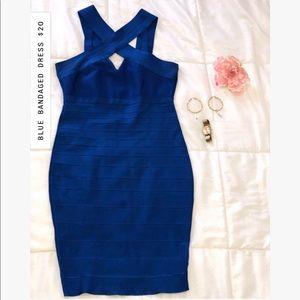 BLUE BANDAGED DRESS